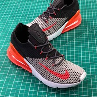 Nike Air 270 Flyknit Light Grey Dark Grey Red Gris Fonce Ao1023-202 Sport Running Shoes - Best Online Sale