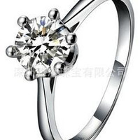 Free shipping - Authentic colors diamond ring, gold-plated sterling silver classic six-claw one karat Crown models