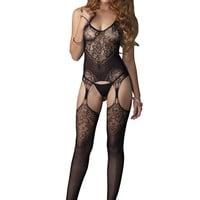 Leg Avenue Female Seamless Lace Jacquard Net Suspender Bodystocking 89175