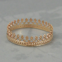 Solid 14K Yellow Gold King Me Ring--King for a Day--Solid Gold Crown Band--Custom made in YOUR size