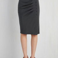 Pinup Mid-length Pencil A Trip into Town Skirt in Charcoal
