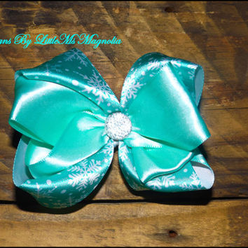 """Frozen Inspired Hair Clip or Headband """"Wanna' Build  A Snow Man""""  Hair Bow for baby girls, toddler girls and little Girls"""