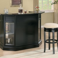 Home bar unit contemporary style black finish wood bar unit with glass front panels