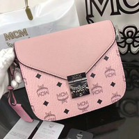 MCM Pink Large Visetos Crossbody Bag Leather Shoulder Bag