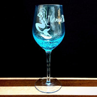 Bubbly Wine Glass with Mermaid Water Design, hand etched