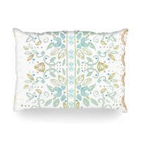 """Jennifer Rizzo """"Boho Inspired Watercolor"""" Blue Gold Floral Pattern Watercolor Painting Oblong Pillow"""