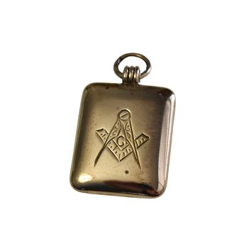 Antique Masonic Watch Fob Locket Gold Filled Engraved NA