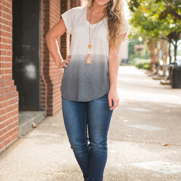 Fade Into The Night Top, Ivory-Charcoal