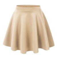 MBJ Womens Basic Versatile Stretchy Flared Skater Skirt L KHAKI