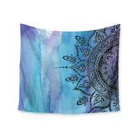 "Li Zamperini ""Blue Mandala"" Aqua Black Wall Tapestry"
