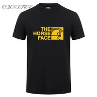 Summer The Horse Face  T Shirt For Men Casual Short Sleeve Cotton Top