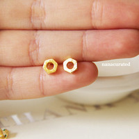 Gold Plated Bolt Studs, Stud Post Earrings, Elegant Earrings, Studs, Posts, Triangle Jewelry, Necklace, Minimal, Hipster Tiny Pendant Studs