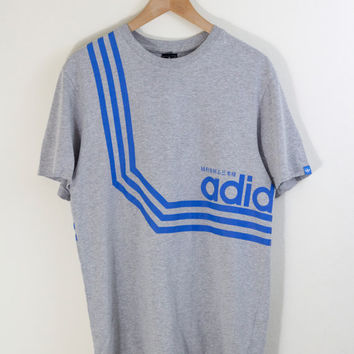 JAPANESE ADIDAS TEE / gray adidas tshirt / trefoil / striped tee / japanese kanji / grey adidas shirt / vintage / mens / medium