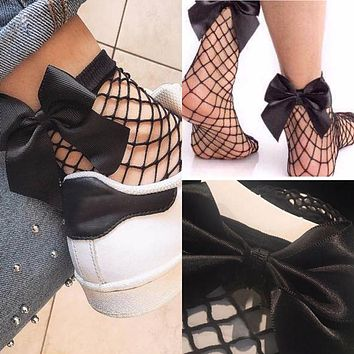 Fishnet Ankle Socks with Bow