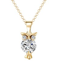 Crystal Zircon Lovely Animal Owl Pendants Necklaces