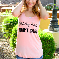 MESSY HAIR DON'T CARE TANK IN BLUSH