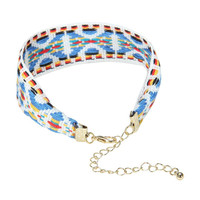 Multicolor Geometric Folk Print Bracelet