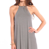 CUTAWAY NECKLINE SWING DRESS - STRIPED