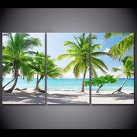 HD Prints Canvas Poster Home Decor Pictures 3 Pieces Santa Catalinna Island Beach Coconut Trees Painting Wall Art Room Framework