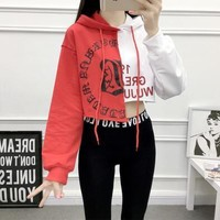 Women Cool Hip Hop Crop Top Sweater