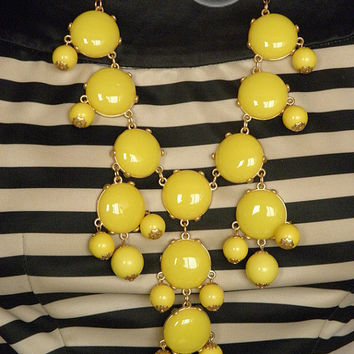 Yellow Bubble Necklace Bib Statement Necklace --Chunky Necklace-Huge- Large- Big-- Jewelry