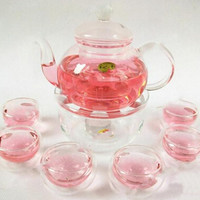2016 1 Set Gaiwan Tea Set With 6 Cups 600ml Glass Teapot 2015 Hot Double Wall Good Quality Made In China Drinkware Freeshipping.
