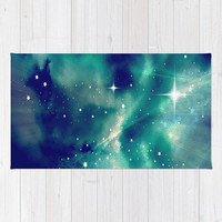 Blue, Sky, Night, Clouds, Stars, Supernova - Decorative Throw Rug, 3 Sizes Available - Kitchen, New Home, Bathroom - Made To Order - SN#83