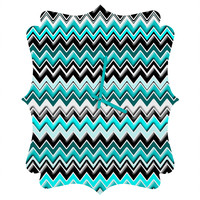 Madart Inc. Turquoise Black White Chevron Quatrefoil Clock