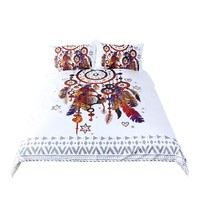 Hipster Watercolor 3pcs Bedding Set Duvet Cover Bohemian Printed Bed Cover