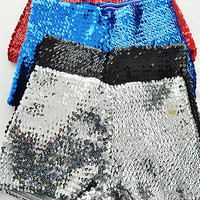 GLITTERING, SPARKLING SEQUIN DETAIL  STRETCH  HOT SHORT PANTS SILVER, BLACK