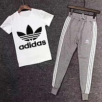 Adidas Summer Men Casual Short Sleeve Top Tee Pants Trousers Set Two-Piece Sportswear