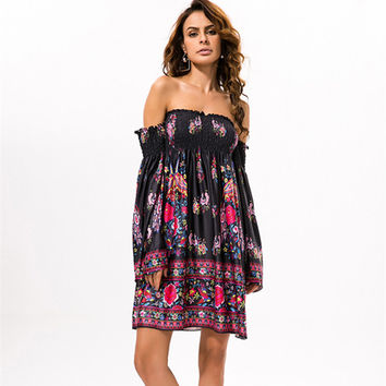 Casual Retro Fashion Female Multicolor Print Floral Off Shoulder Pagoda Sleeve Long Sleeve Backless Dress