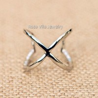 Adjustable Silver X Ring