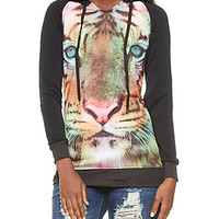 Embellished Airbrush Tiger Face Graphic Longline Hoodie