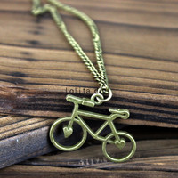 Restore ancient ways bronze necklace bicycle, bicycle pendant gift -- friendship