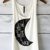 I Love You to the Moon Tank (Ivory)