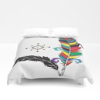Bohemian colorful feathers duvet cover
