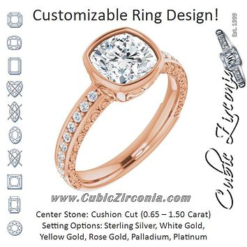 Cubic Zirconia Engagement Ring- The Araceli (Customizable Bezel-set Cushion Cut Design with Cloud-pattern Band & Semi-Eternity Accents)