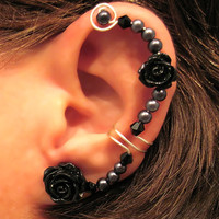 """Non Pierced Ear Cuff  """"Forever Beautiful"""" Cartilage Conch Cuff Silver tone Wedding Bridal Prom Quinceanera Color Choices"""
