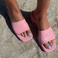 G GG slippers summer new open-toed thick heel mid-heel slippers increase one-word drag and wear sandals Shoes Pink