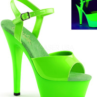 Neon Green Ankle Strap Sandle With 6 Inch Heels-Rave Shoes