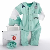 """Baby M.D. Three-Piece Layette Set in """"Doctor's Bag"""" Gift Box-Unique Baby Gifts  LollipopMoon.com only $38.95 - Newborn Baby Clothes"""