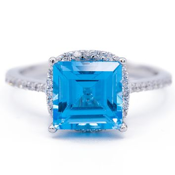 Natural Square Blue Topaz 14k Solid White Gold with Diamond Antique Shoulders and Floral Halo Basket Setting 3.7 CTTW