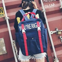 2017 Summer Autumn New Hot Fashion Women Female Casual Zipper Canvas Man Male Japanese Letters Simple School Backpacks Bags