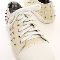 Nude Canvas Studded Lace Up Sneaker Flats