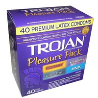 Trojan Pleasure Pack 40 Premium Latex Condoms - Ecstasy, Sensations, Ultra Thin, and ENZ Lubricated - Awesome Assortment
