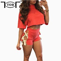 8 colors new 2017 summer fashion women 2 pieces jumpsuits and rompers bowtie bodysuit sexy club bandage short playsuit XD902