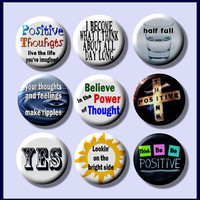 "THINK POSITIVE Thinking Optimistic 9 Pinback 1"" Buttons Badges Pins"
