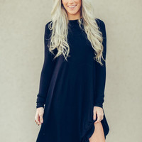 Mock Neck Long Sleeved Dress in Gray
