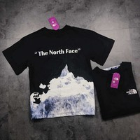 """The North Face"" Unisex Fashion Letter Mountain Print Couple Short Sleeve T-shirt Top Tee"